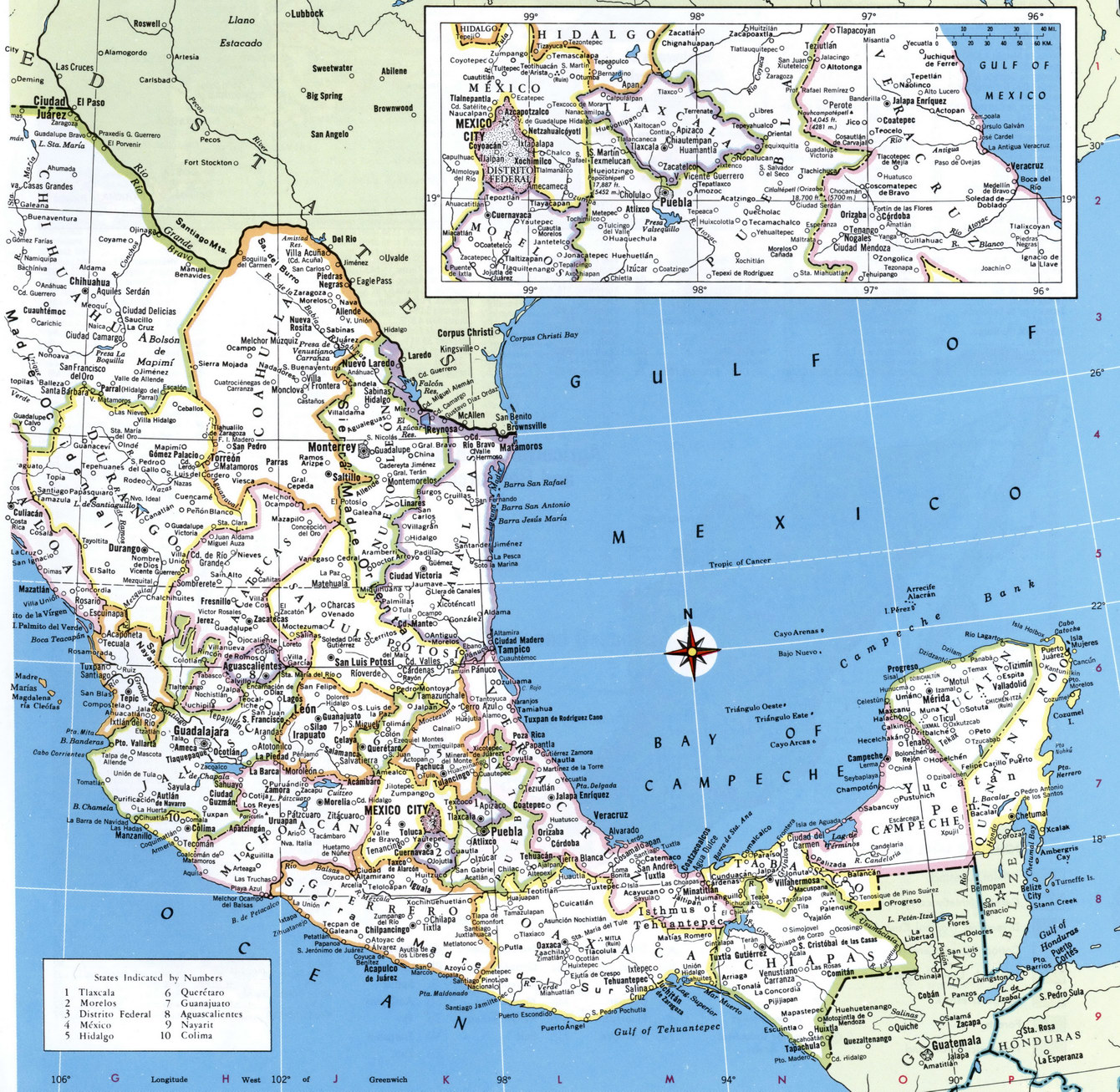 Mexico detailed map
