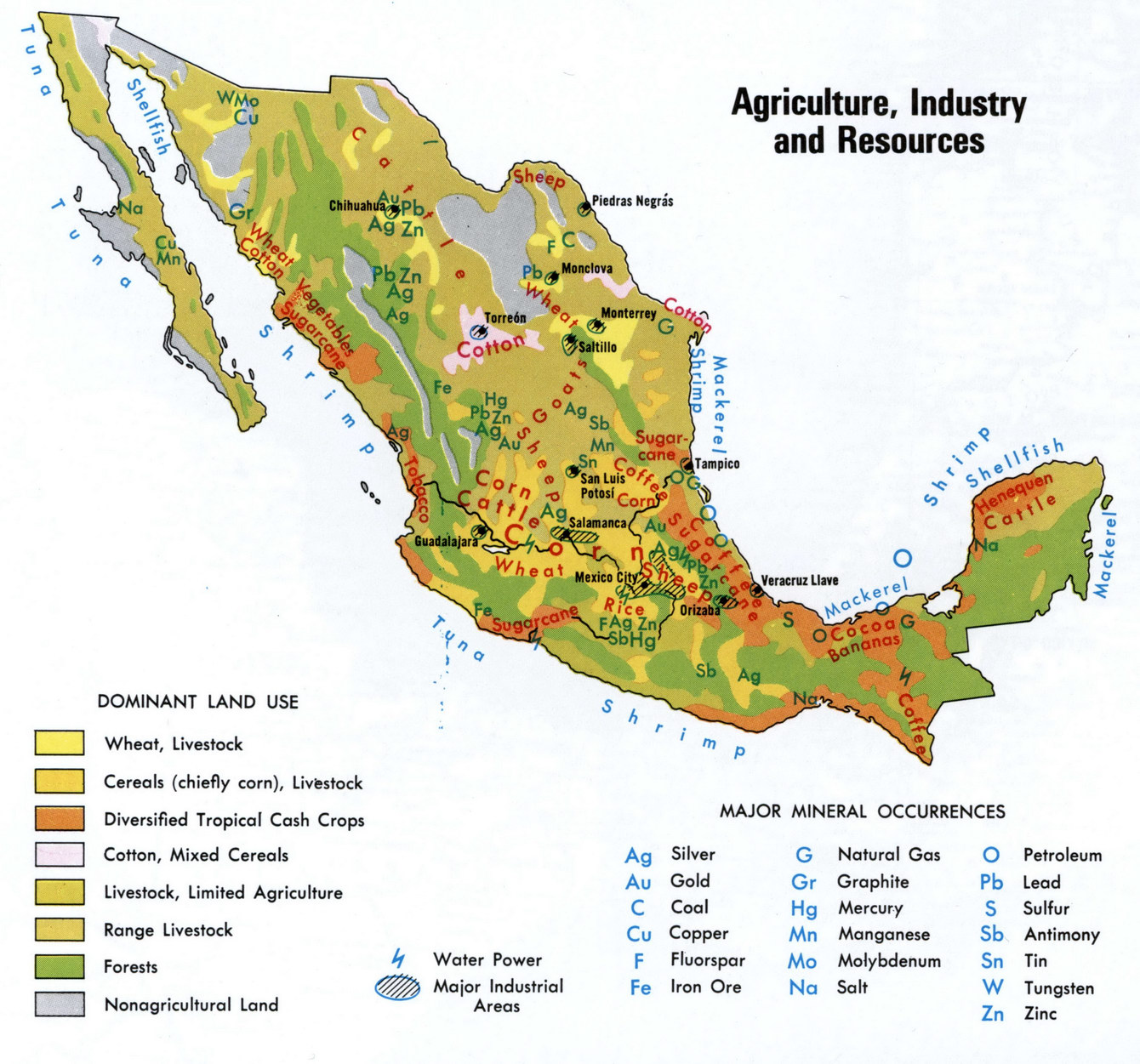 Resources Of Mexico - Natural resources map of us