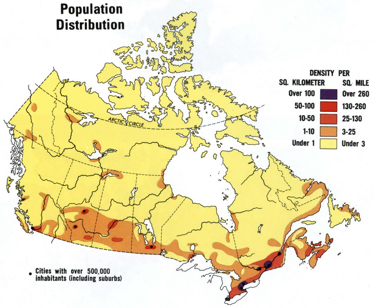 Population Of Canada - Population density map of usa and canada