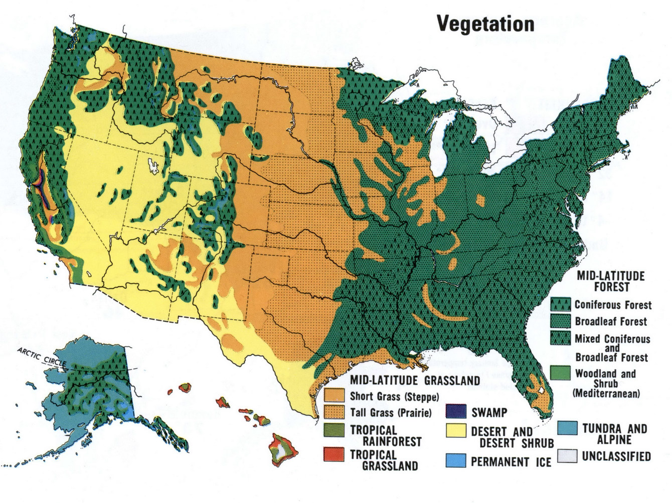 Vegetation Of USA - Map of usa with deserts