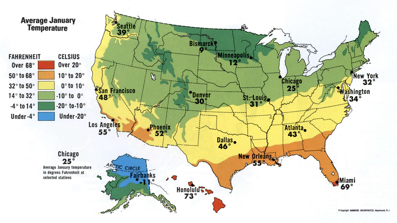 January Temperature Of USA - Us map with temperatures