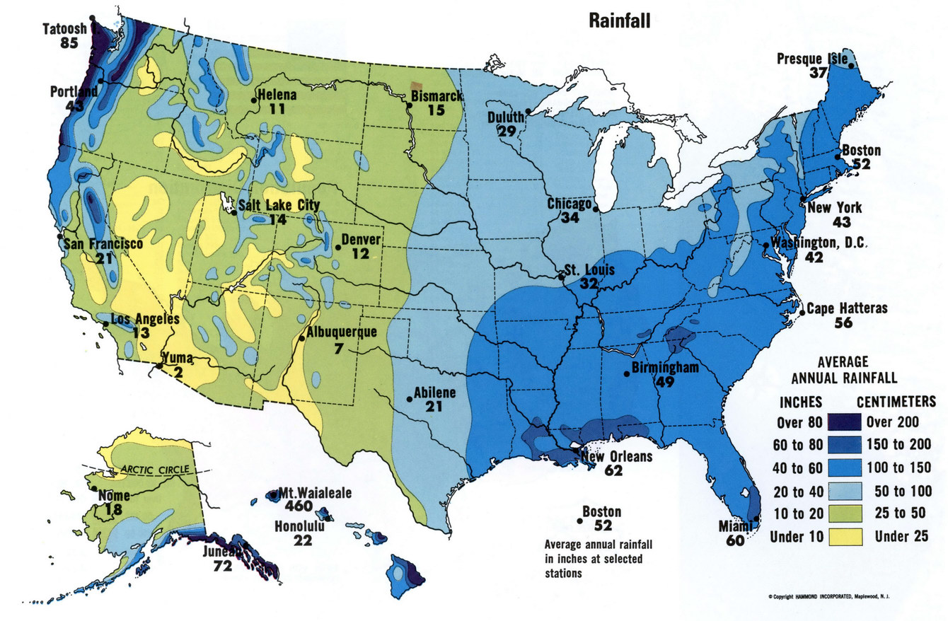 Rainfall USA Map - Alaska over the us map