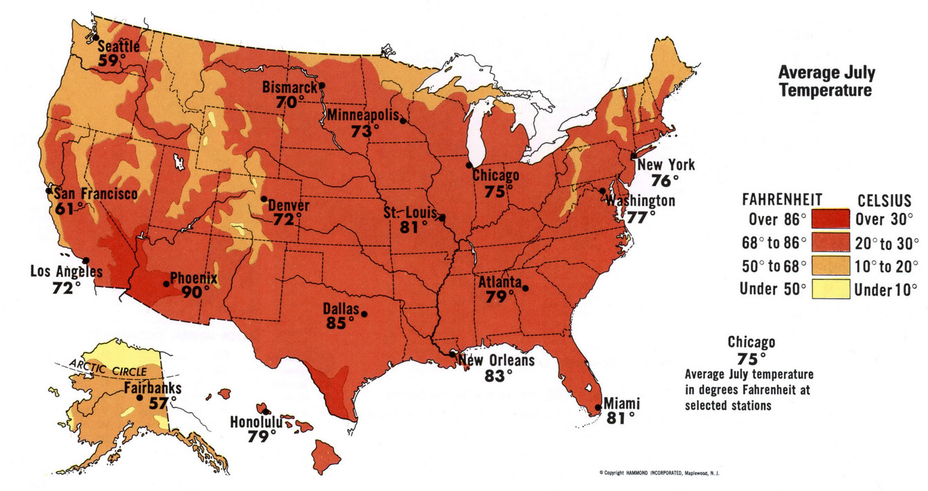 Us Temperature Map Celsius July temperature of USA
