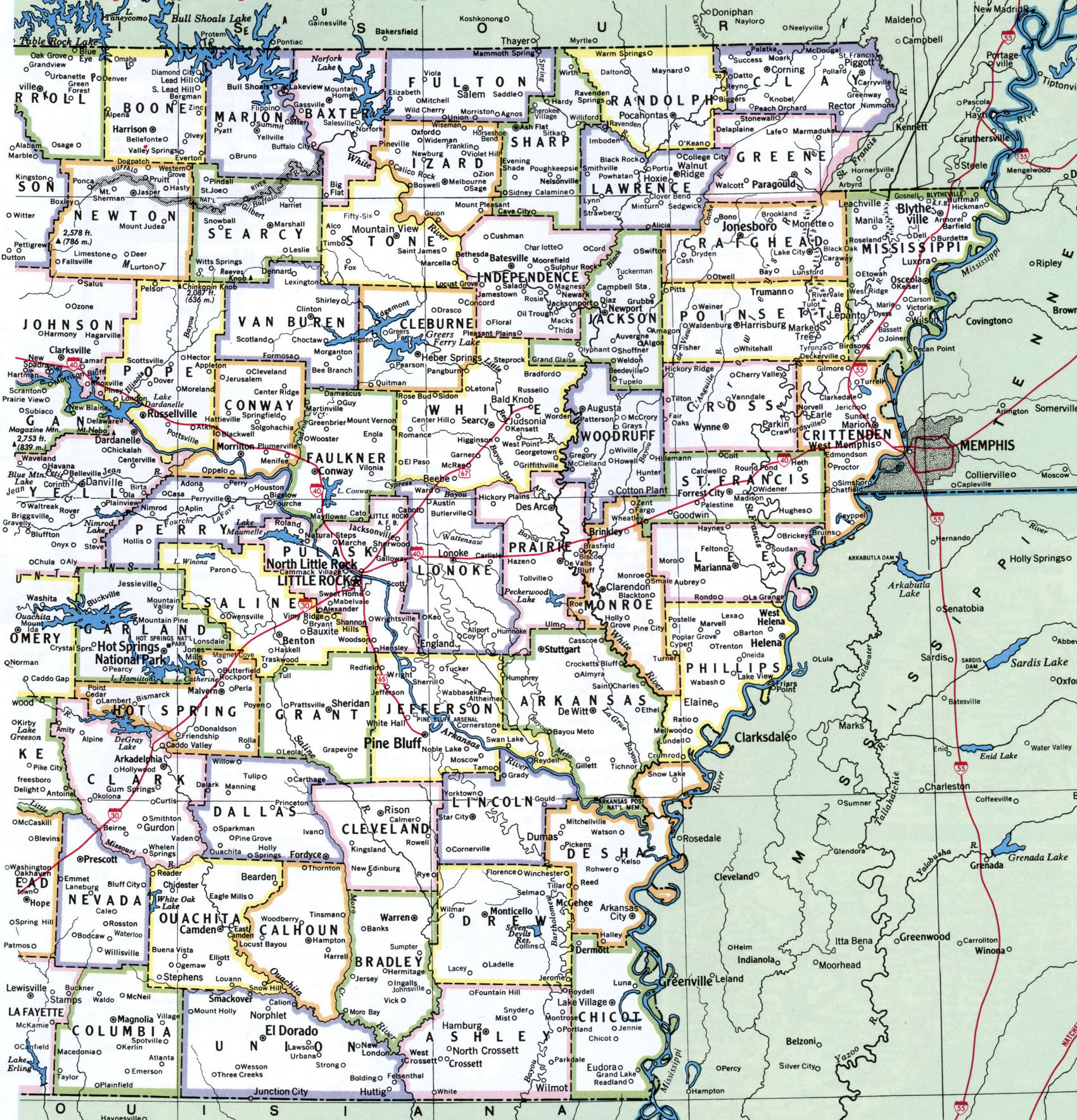 Arkansas County - Arkansas county map