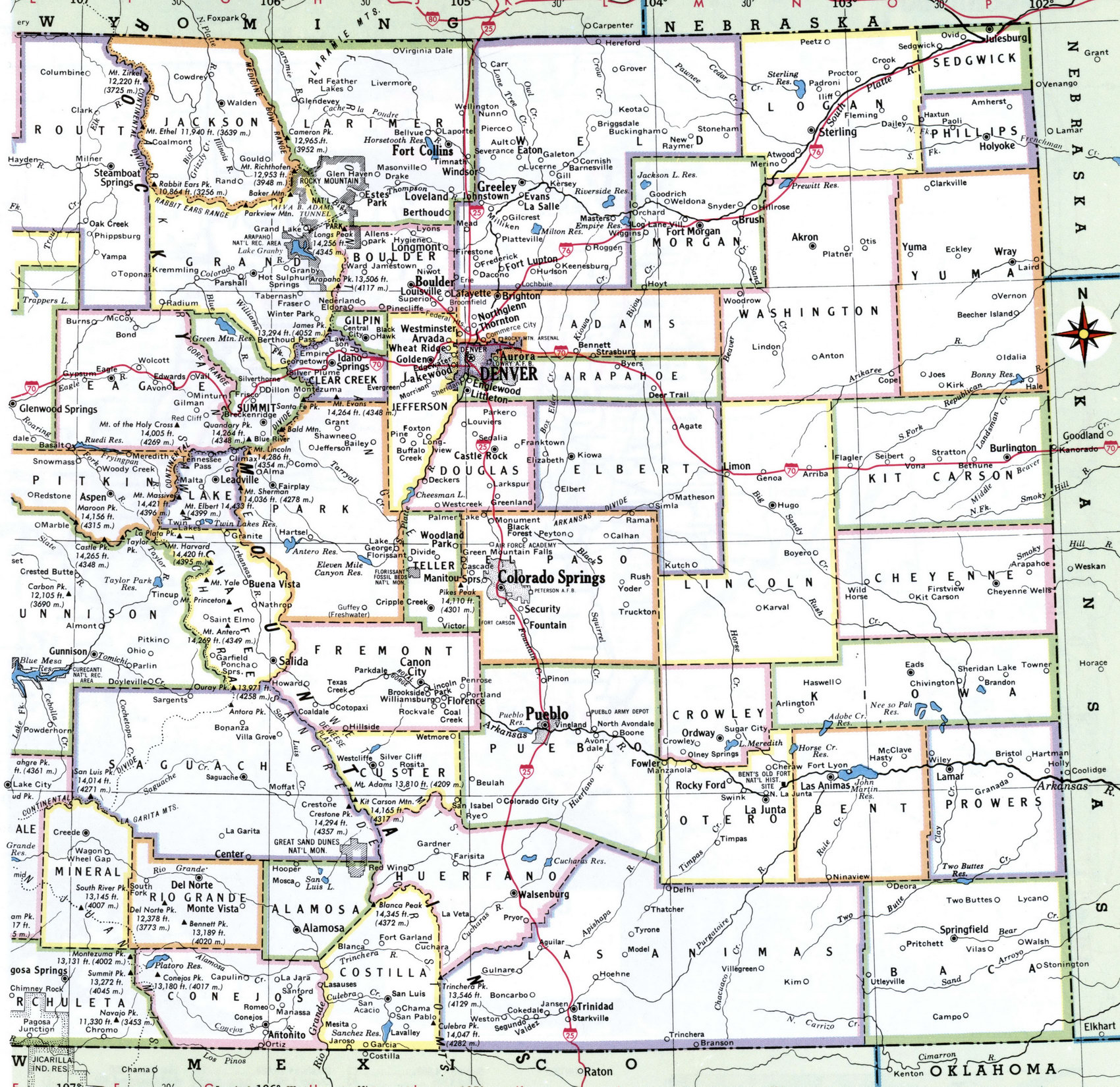 colorado map with cities and counties detailed map of colorado state withcounty border big map of colorado united states of america. colorado county