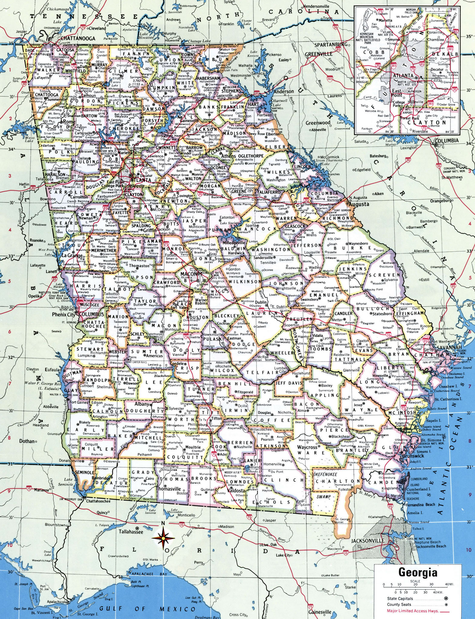 State Of Georgia County Map.Georgia County