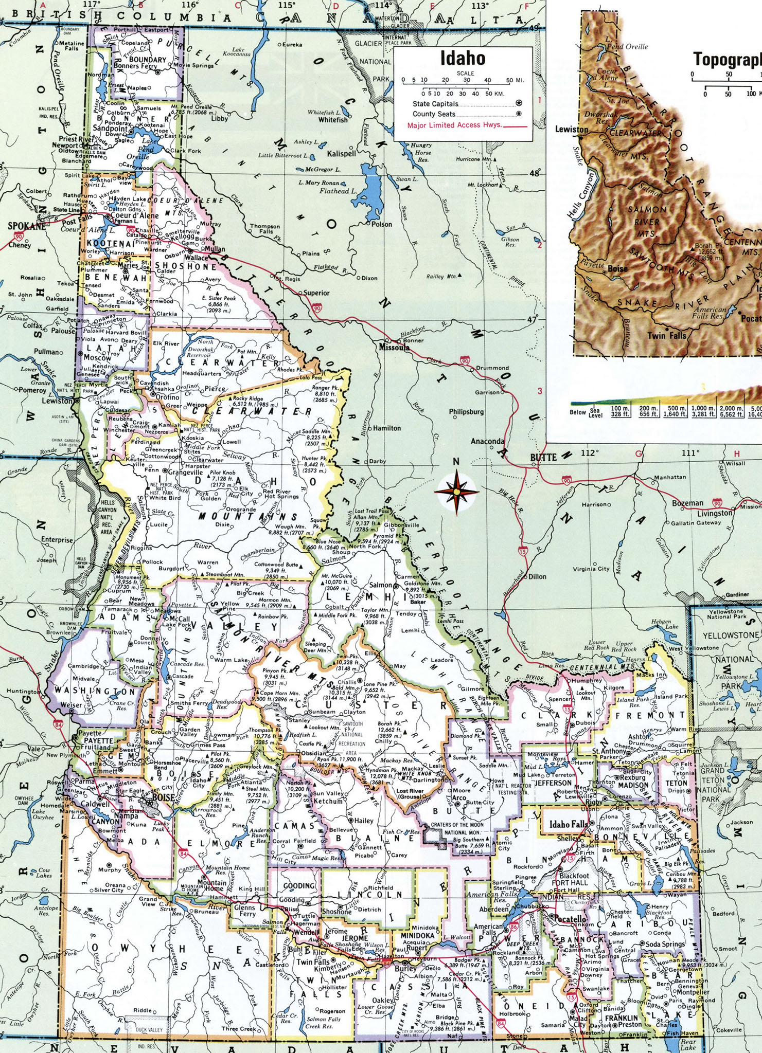 Idaho County - State of idaho map