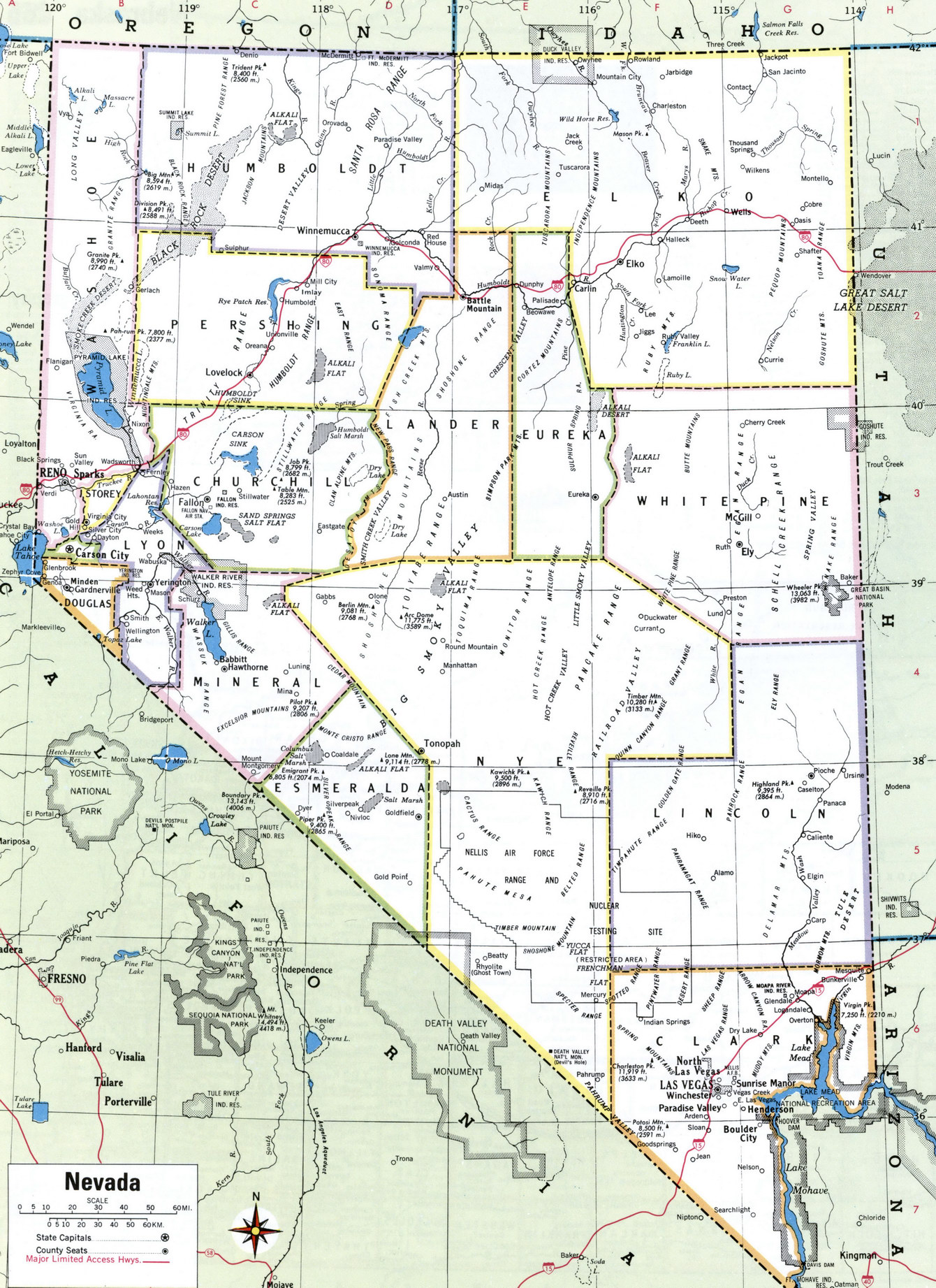 Nevada county map
