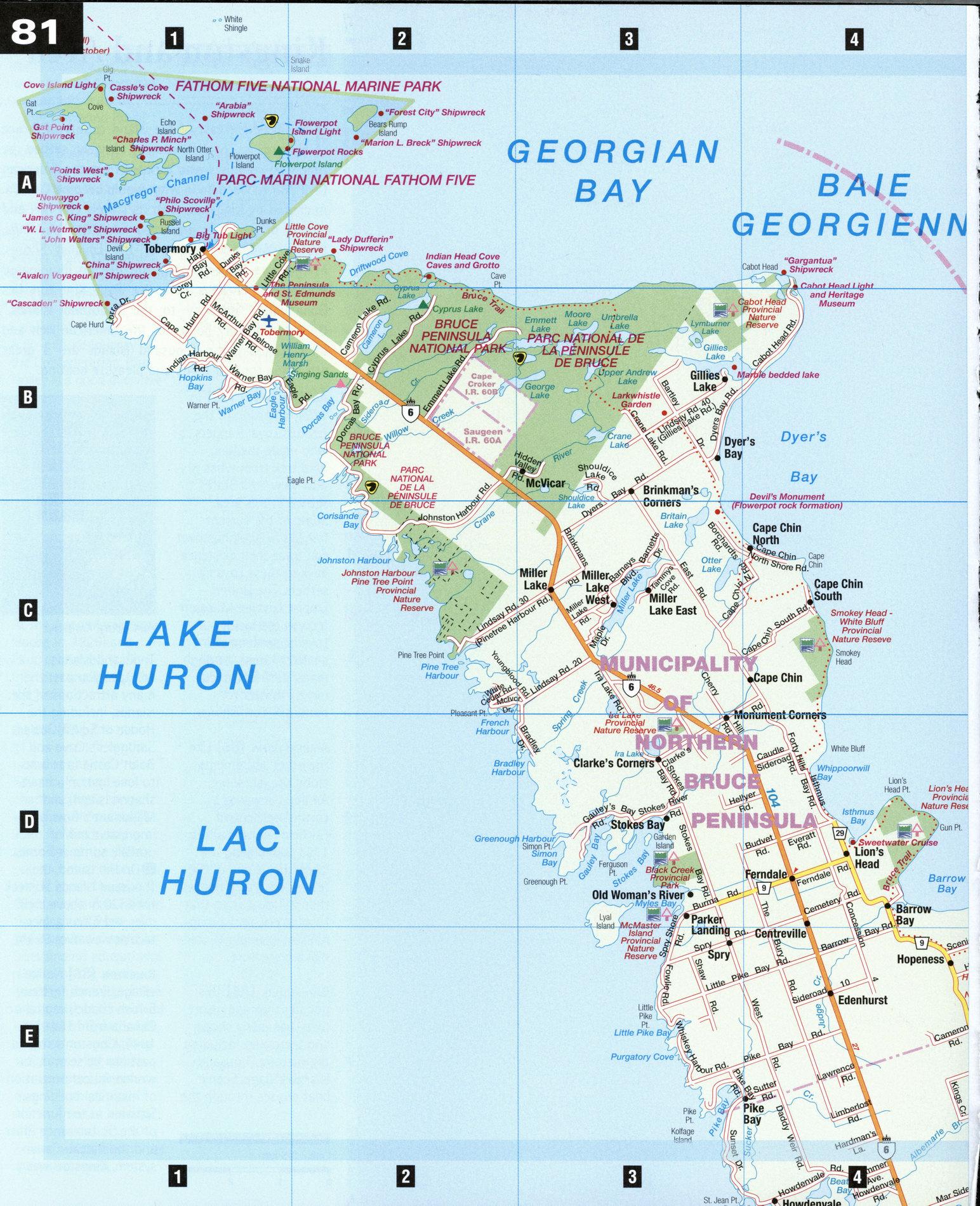 Map Of Bruce County Ontario Canada Bruce Peninsula